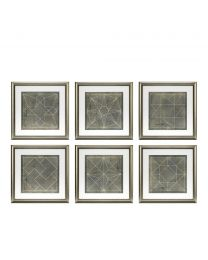 Prints Geometric Blueprints set of 6
